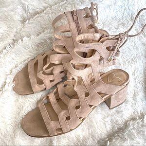 Madeline Gladiator Suede Lace Up Caged Heel Sandal